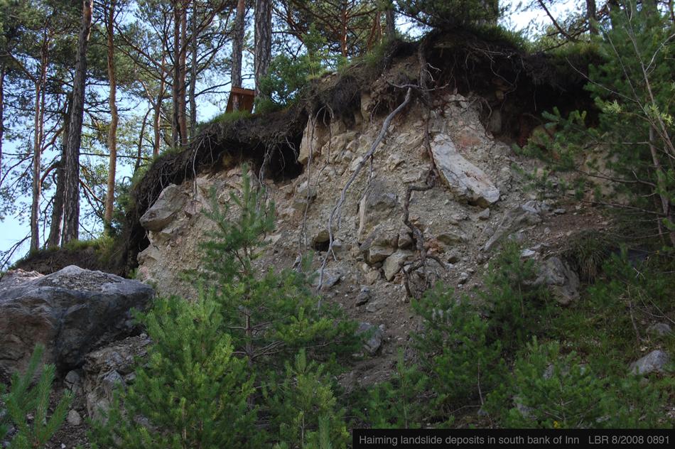 Landslide deposits from below river's cliff